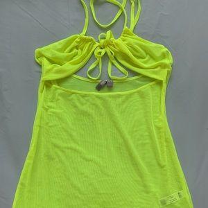 Asos Neon Yellow Mesh Beach Dress